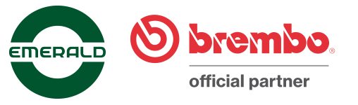 emerald auto parts company logo and Brembo official partner